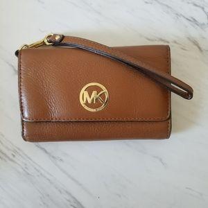 Michael Kors Brown Leather Trifold Wristlet